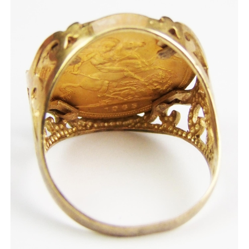 2 - An Elizabeth II gold sovereign, 1965, in pierced 9 carat gold ring mount, gross weight 13.9 grammes...