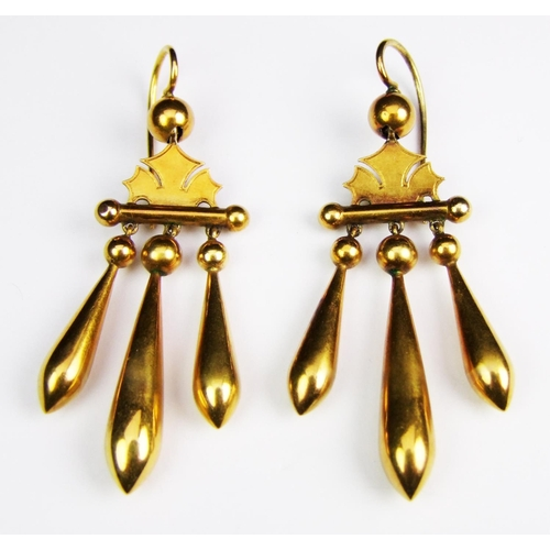 28 - A pair of mid Victorian yellow gold ear pendants, each comprising three articulated pipkin drops sus...