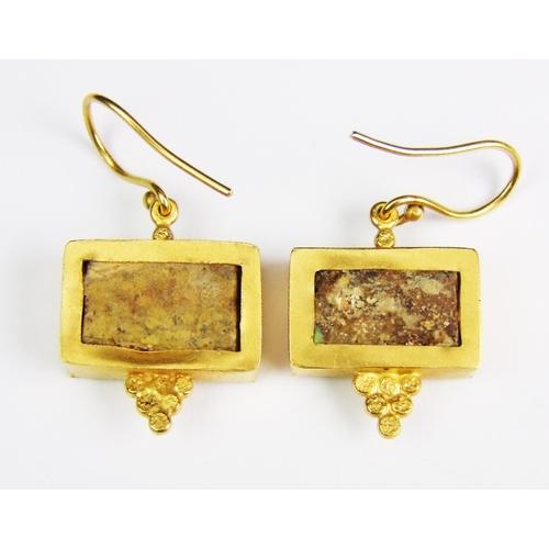 30 - A pair of turquoise-set rectangular drop earrings, of an ancient Roman/Greek design, the hook fittin...