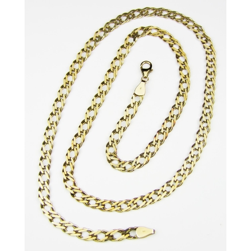 37 - A filed double curb link neckchain, the clasps stamped '9KT', gross weight 22.1 grammes...