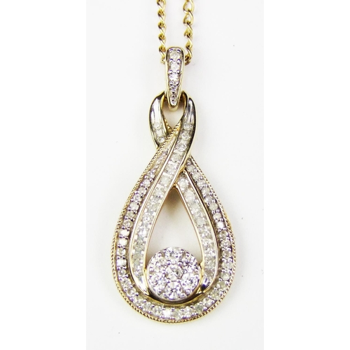 6 - A diamond set pendant, of stylised cluster and boteh design, set throughout with circular-cut diamon...