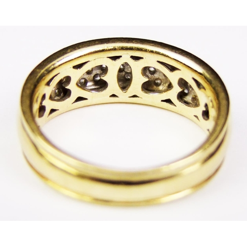 9 - A diamond-set ring, the top section of the tapering band set with three rows of graduated brilliant-...