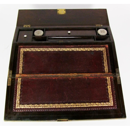 121 - A rosewood and mother-o'-pearl inlaid writing slope, width 40cm (15 3/4in.)....