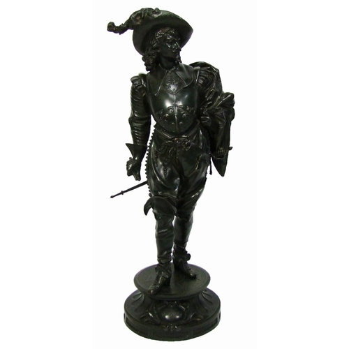 122 - A spelter figure of Vendome, a cavalier, height 74 cm (29 in.)...