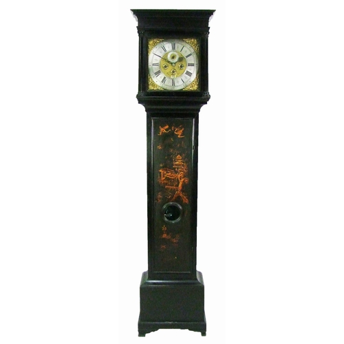 132 - An 8-day lacquered longcase clock, the 30cm dial with silvered chapter ring, signed Jos Littlemore, ...