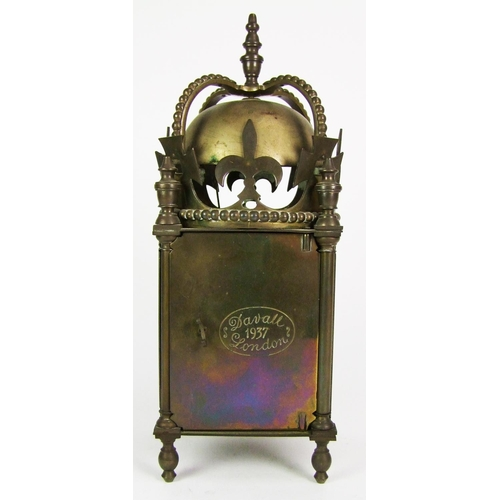 136 - A brass lantern clock, inscribed GVI crowned 12th May 1937, the back plate stamped Davall, London, h...