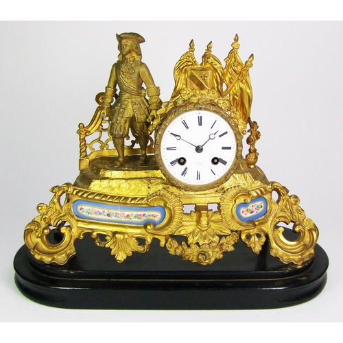 137 - A French gilt mantel clock, the white enamel dial signed Henry Marc, a Paris, on wooden base, height...