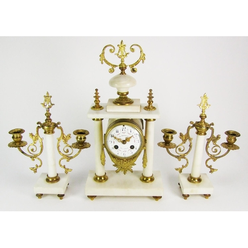 139 - A white marble clock garniture, comprising a portico clock, the white enamel dial signed Brunott, wi...