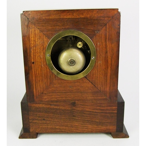 143 - A rosewood presentation mantel clock, with Sevres style dial, the movement striking on a bell, heigh...