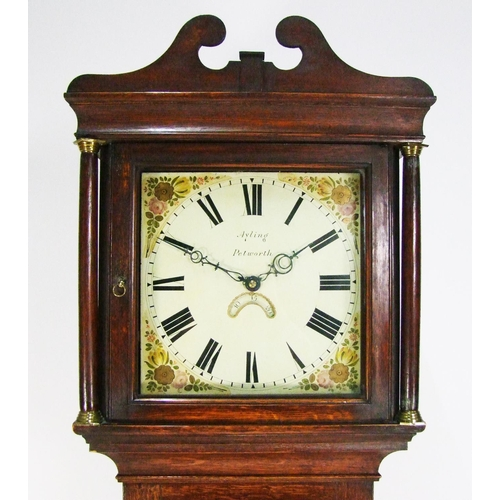 146 - An oak 30-hour longcase clock, the 30.5cm painted dial signed Ayling, Petworth, the case on plinth b...