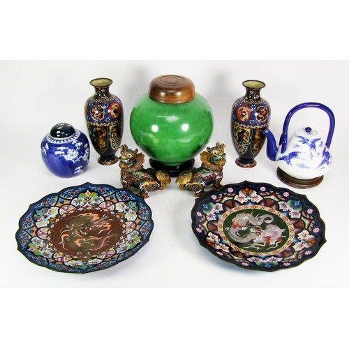 160 - A pair of Japanese cloisonné vases, two dishes, a pair of kylins, and other items....