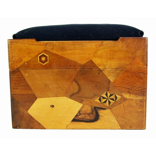 161 - A Japanese parquetry puzzle box, with lift off lid, and abacus, width 23.5cm (9 1/2in.)....
