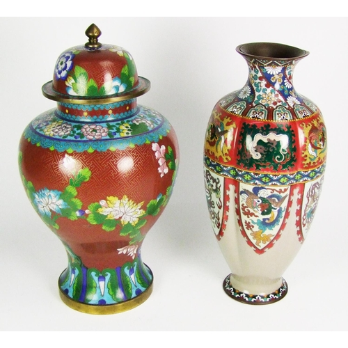 163 - A pair of Japanese cloisonne jars and covers, of bulbous lobed form, height 23cm (9in.); another pai...