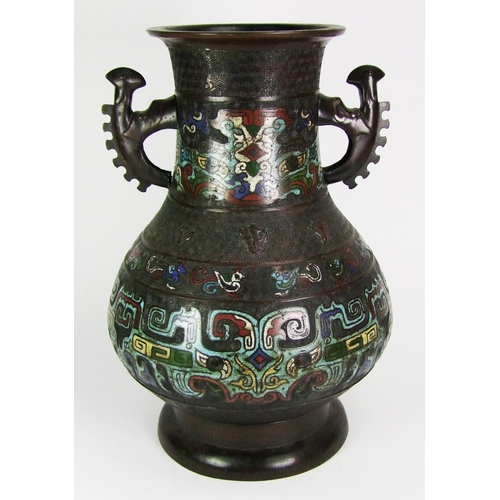 168 - A Chinese bronze and champleve enamel vase, with serrated handles, height 39cm (15 1/2in.)....