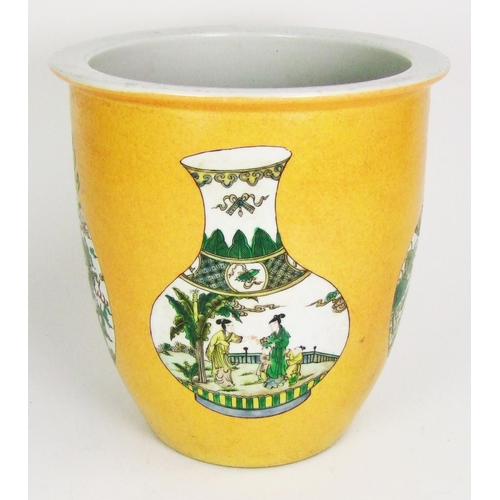 170 - A Chinese jardiniere, the yellow ground decorated with famille verte moon flasks, height 23.5cm (9 1...