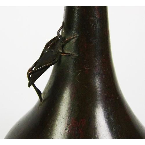 171 - A Japanese bronze vase, with narrow neck and locust in relief, height 29cm (11 1/2in.)....