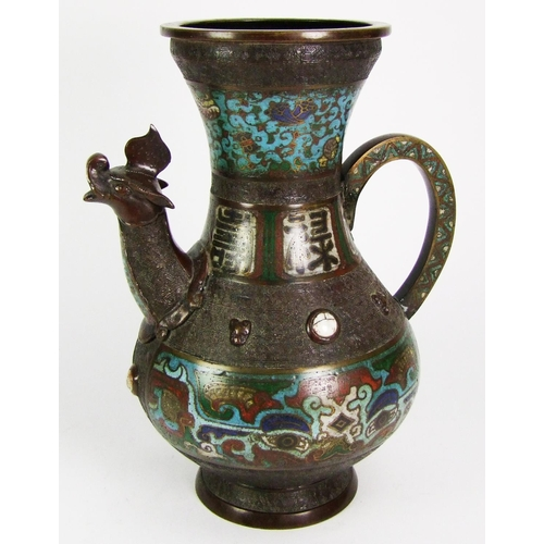 172 - A Chinese bronze and champleve enamel ewer, of baluster form, with mythical beast head spout, height...