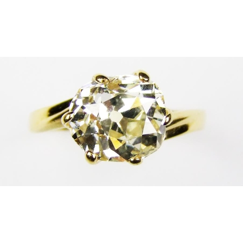 412 - A diamond single stone ring, the cushion-shaped old brilliant-cut diamond, weighing approx. 2.90 car...