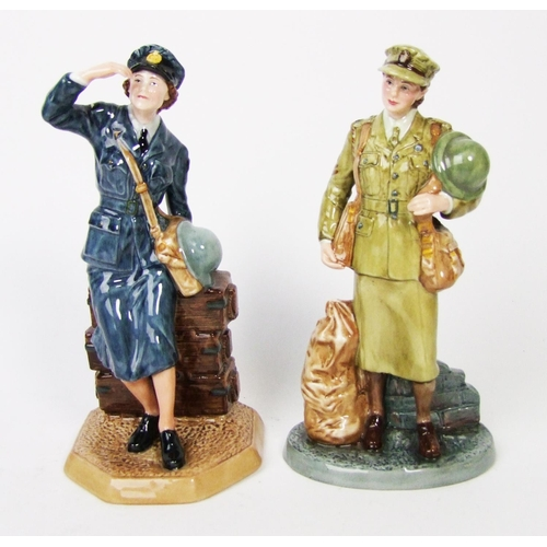 157 - A Royal Doulton figure 'Women's Auxiliary Air Force', HN 4554, 'Auxiliary Territorial Service', HN 4...