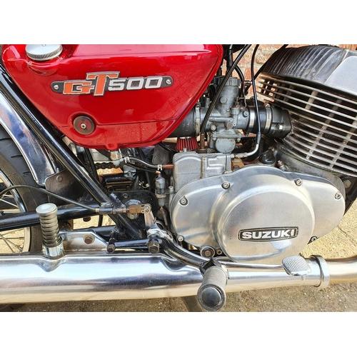1043 - 1977 Suzuki GT500B, 492cc. Registration number HRZ 4327. Frame number 98621. Engine number 98718. <b...