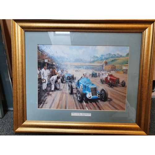 23 - Back in the Race, Brooklands 1935, print, by Kevin Walsh, 28 x 40 cm....