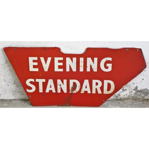 43 - A Evening Standard double sided trade bicycle advertising sign, 28 x 58 cm.