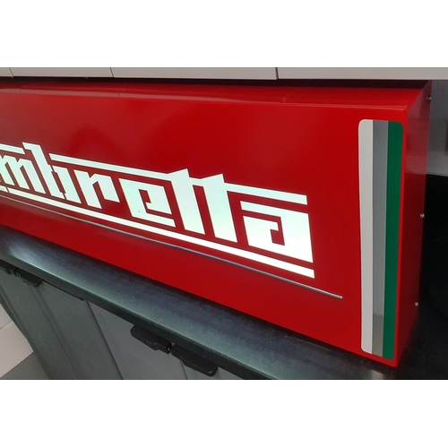 47 - A steel and LED lit Lambretta sign, fabricated using 1.5mm mild steel, welded and smoothed joints, l...