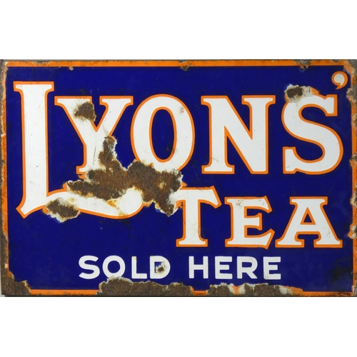 A vitreous enamel, double sided, wall mounted advertising sign, Lyons Tea sold here, 30 x 45 cm.