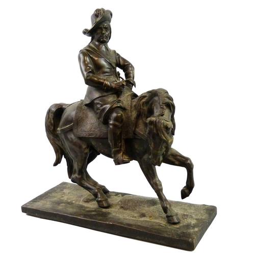 A French mid 19th century bronze of a mounted Cavalier  cast by Vittoz  signed Vittoz Bronzier  realistically modeled  mounted on a rectangular base  height 39 cm.