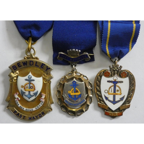 Three silver and enamel Bewdley Past Mayor and Mayoress badges and a Deputy Mayor badge