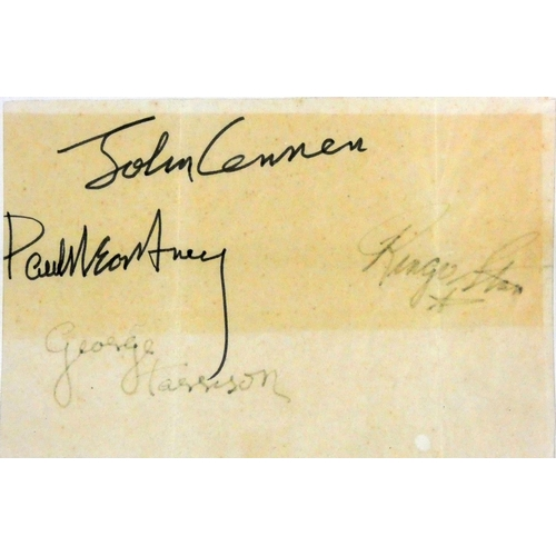 254 - Of Beatles interest - a group of four autographs, signed on paper, two faded, 11 x 16 cm. Provenance...