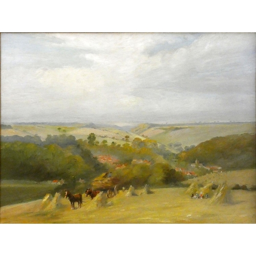 324 - Staithes School, gathering hay in the Wolds, unsigned, oil on canvas, 55 x 75 cm, gilt frame....