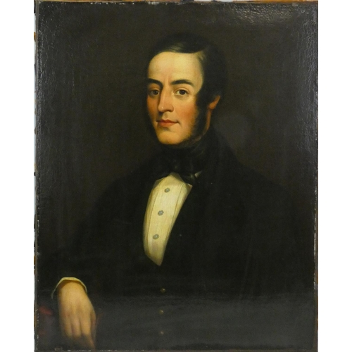 325 - 19th century English school, portrait of a gentleman, unsigned, oil on canvas, 75 x 62 cm, gilt fram...