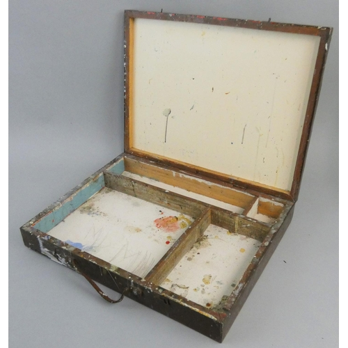 327 - Of Walter Goodin interest - an artists paint box/case, with paint splatter to the outside, opening t...