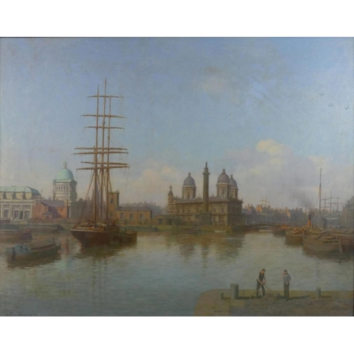 330 - Walter Goodin (1907-1992), Sailing ship in Princes Dock, Hull, signed and dated 1974, oil on board, ...