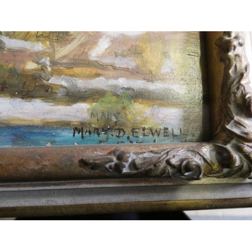 338 - Mary Dawson Elwell S.W.A. (1874 - 1952), Corte, La Citadelle, Corsica, signed and dated 1937, oil on...