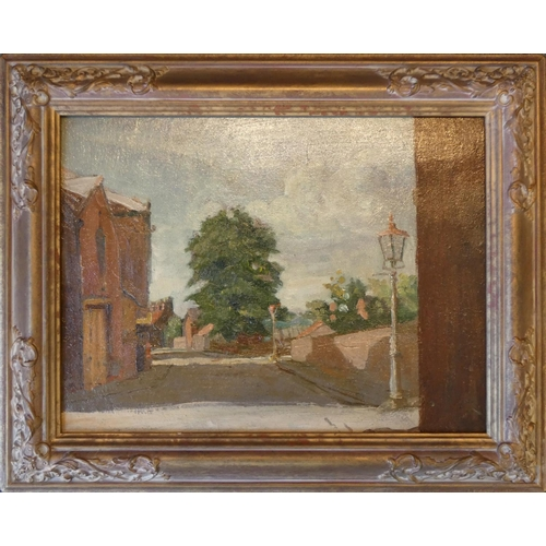 342 - Fred Elwell R.A. (1870 -1958), The Junction of Trinity Lane, unsigned, oil on board, 27 x 35 cm, gil...