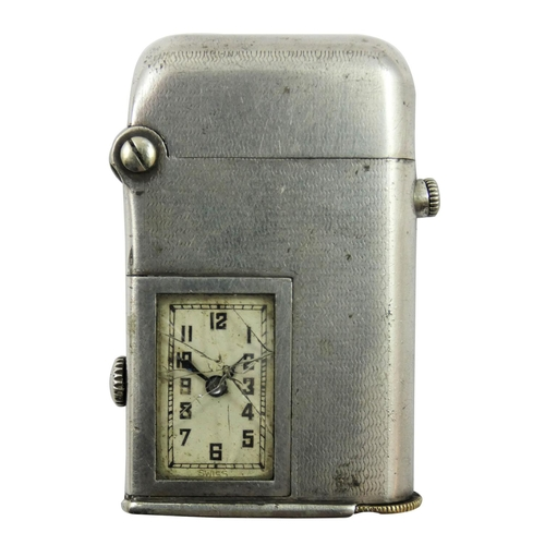 35 - A Thoren's Art Deco electroplated combination watch/lighter, USA and British patents, c.1920, Brevet...