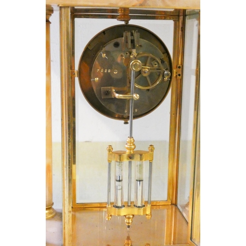 360A - A 19th century French rose marble and gilt metal clock garniture, the dial with floral swags between...
