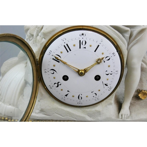 361 - A 19th Century French alabaster and marble figural mantel clock, the white enamel dial with black Ar...