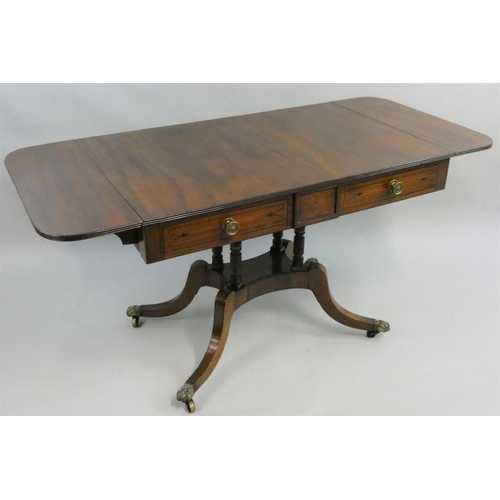 393 - A 19th century mahogany and ebony strung sofa table, with two unequal length frieze drawers, raised ...