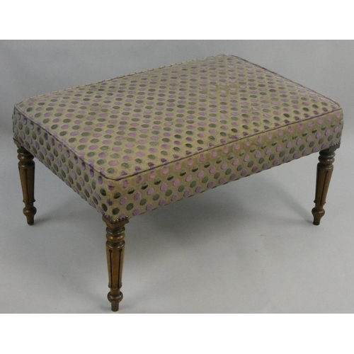 404 - A large mahogany framed rectangular stool, with upholstered seat, raised on tapering turned legs, 94...