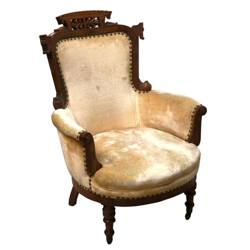 406 - A Victorian mahogany framed armchair, with pierced and carved frame, gold velvet upholstered body, r...