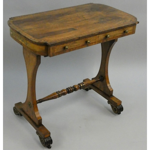 414 - A George III rosewood and boxwood strung side table, with two frieze drawers, lyre shaped supports w...