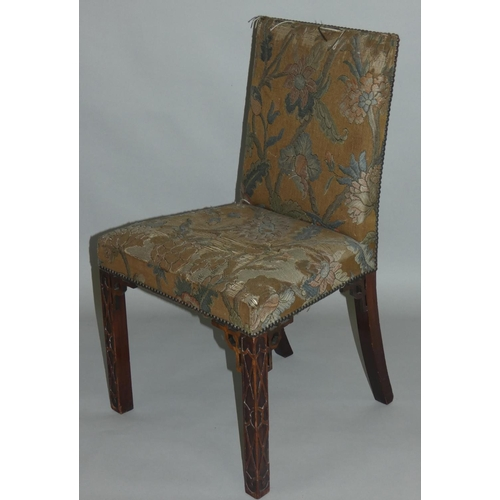 419 - A 19th century set of eight Chinese Chippendale style mahogany dining chairs, the seat and back upho...