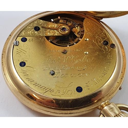 70 - Thomas Gammage & Sons, late James McCabe, London - an 18ct gold half hunter keyless wind pocket watc...