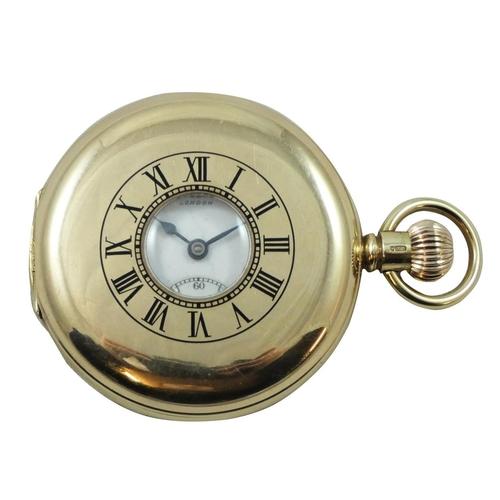 100 - A 9ct rose gold keyless wind half hunter pocket watch, by J.W. Benson, London 1936, the white enamel...