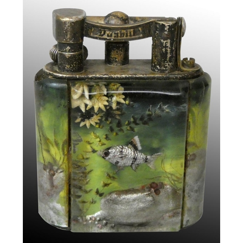 Ben Shillingford for Alfred Dunhill, a service size aquarium lighter, circa 1950s, reverse etched and painted lucite, with silver plated mounts, patent 143752, 7cm high, 6cm wide, 3.5cm deep