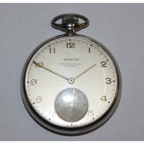 Zenith, a chrome plated keyless wound pocket watch, number 127353, cal.18.26.I.P.E, gilt Arabic numerals