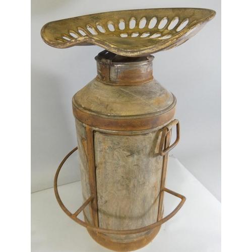 16 - A vintage aluminium milk urn, converted into a bar stool, height 77cm....